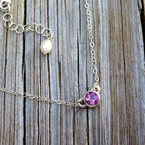 Jewelry - Natural Pink Topaz Necklace 925 Solitaire Necklace